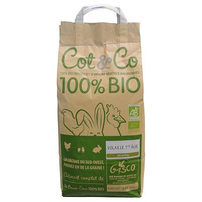 Gasco Cot&Co - Alimentation Bio pour Volailles 1ème Âge - 5Kg