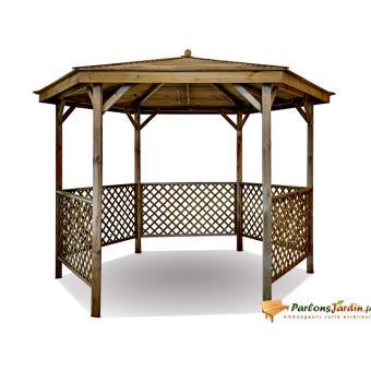 Kiosque de jardin en bois hexagonal Lora | Burger - Achat & prix | fnac