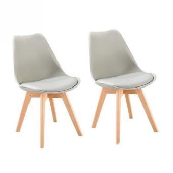 bjorn lot de 2 chaises scandinaves de salle a manger grise et pieds en hetre naturel autres achat prix fnac - Chaises Scandinaves Grises