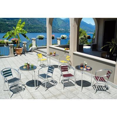 Table jardin en aluminium et plateau en acier - Dim : H 70 x Ø 60 cm