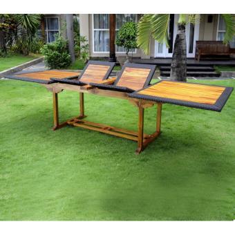 Table de jardin en teck et résine tressée XXL 200-250-300 cm ...