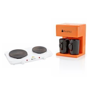 Blackpear Plaque cuisson 2 feux + Cafetière filtre 2 tasses