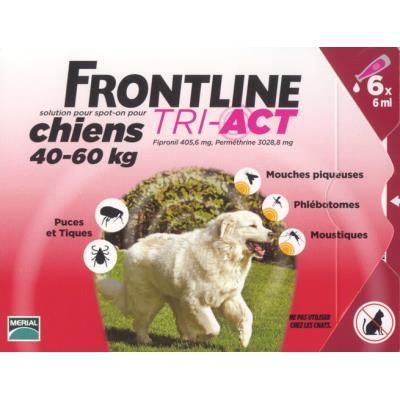 Frontline tri act - chien xl (40 - 60 kg) - 6 pipettes