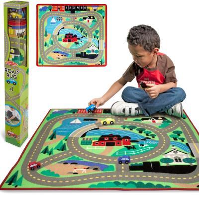 Tapis de jeu circuit de voiture + 4 voitures bois 100x91cm pour chambre enfants