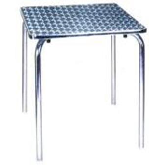 Table jardin en aluminium et plateau en acier - Dim : H 70 x L 70 x ...