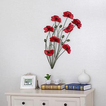 d coration murale de style rustique en forme coquelicot rouge en m tal achat prix fnac. Black Bedroom Furniture Sets. Home Design Ideas
