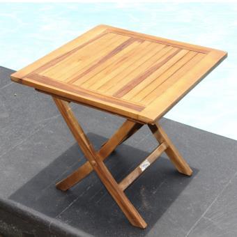 Table basse carrée pliante en teck huilé - GardenAndCo ...