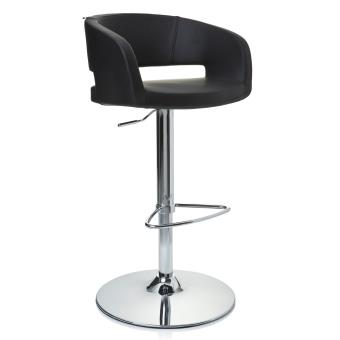 Tabouret De Bar Chaise Haute Vita Chrome Et Simili Cuir Noir Hjh Office