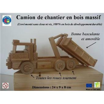 camion de chantier 6 roues benne amovible fabrication artisanale en bois finition. Black Bedroom Furniture Sets. Home Design Ideas