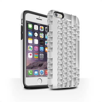 Coque Matte Robuste Antichoc de STUFF4 Coque Etui Houe pour Apple iPhone 6S Clavier PC Blanc Design Cles Boutons Collection