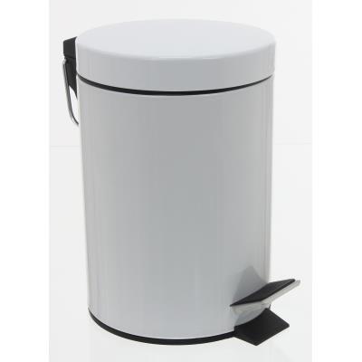Poubelle 3L métal coloris blanc, Hauteur 24 x Diamètre 17 cm -PEGANE-