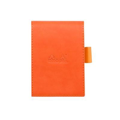 Rhodia : Porte-bloc Simili Cuir 8.4 x 11.5 cm+ bloc N°11 - Tangerine