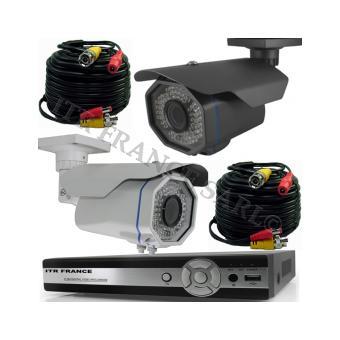 kit 2 cam ra vid o surveillance professionnel ext rieur hd longue port e infrarouge 100m pour 84. Black Bedroom Furniture Sets. Home Design Ideas