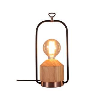Lampe à poser bois et métal finition laiton vieilli, lampe ...