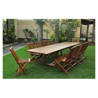 salon de jardin teck massif \'huilé\' 12/14 pers chaises + table ...