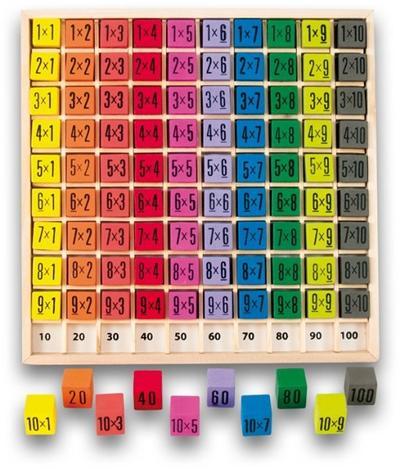 Table de multiplication couleur en bois jusqu'à 10 x 10 + sac de rangement
