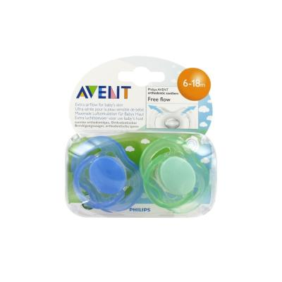 AVENT - 2 Sucettes aerees silicone garcon 6-18 mois (sans bpa)