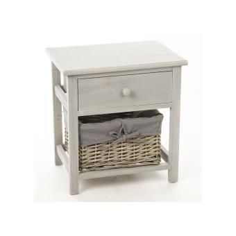 meuble de chevet - table de nuit grise - 1 tiroir + 1 panier