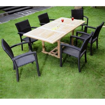 salon de jardin 6 places en teck et résine tressée - table rectangle ...
