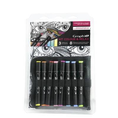 Kit Coloriage Colour et Relax Graph'it - Visage coul. vives - Graph it