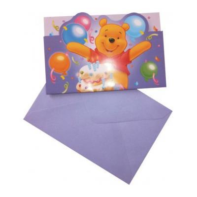 Invitations anniversaire Winnie l'ourson (x6)