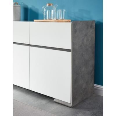 NAUTILUS Buffet 160 cm - Laqué blanc satiné et décor effet béton ...