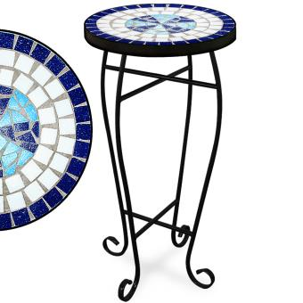 Table guéridon 62x34cm mosaique - bleue Neptune - Mobilier ...