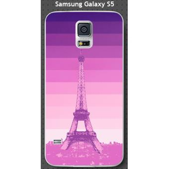 Coque Samsung Galaxy S5 design Paris tour et fond dégradé rose, violet
