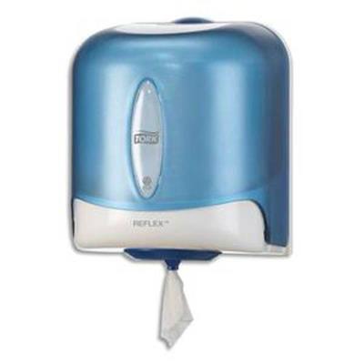 Distributeur Maxi Reflex à dévidage central feuille à feuille L25x H30x P25 cm transparent fumé bleu