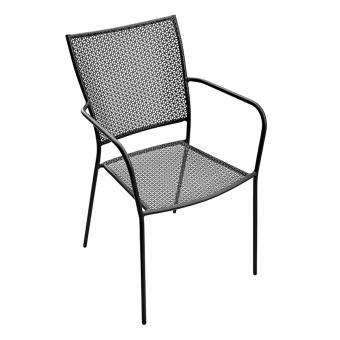Chaise de jardin en métal gris anthracite - A USAGE PROFESSIONNEL - PEGANE -