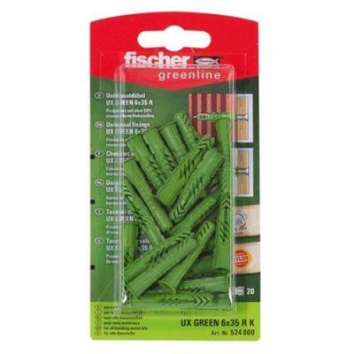 Fischer 524800 Greenline Lot de 20 Chevilles universelle UX 6 x 35 mm R K