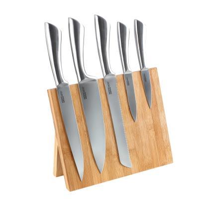 Set 5 couteaux sur bloc bambou aimanté argent kitchen artist mec103