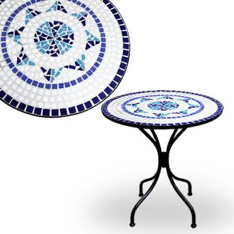 Table mosaïque bleu fer forgé Jardin Meuble Terrasse Balcon Pierre ...