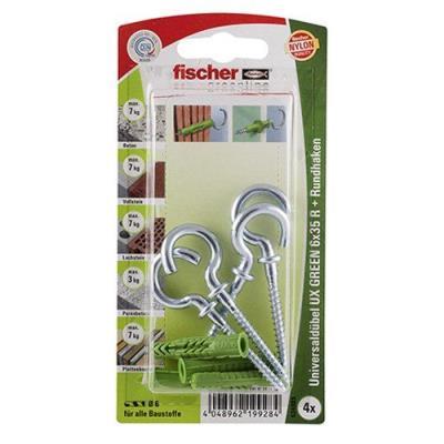 Fischer 524803 Greenline Lot de 4 Chevilles universelle UX 6 x 35 mm R RH K