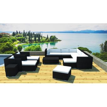 Lynco - Grand salon jardin modulable en résine - Mobilier de Jardin ...