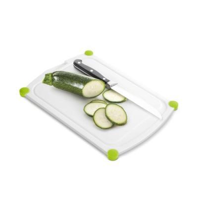 Emsa 514451 perfect cut planche à découper avec gorge polyéthylène tpe blanc vert 25 x 19 cm