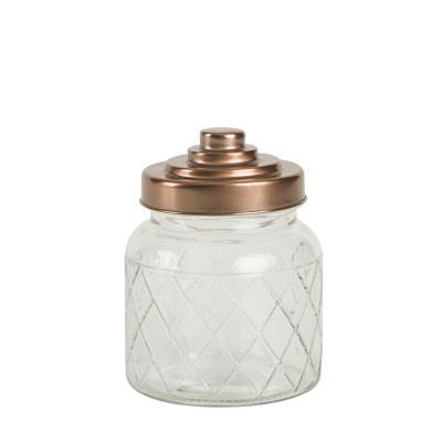 T&G Woodware - Boîte Hermétique / Bocal / Bonbonnière En Verre Damier Couvercle Cuivre D11Xh14Cm 60Cl