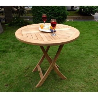 table pliante de jardin 70 cm de diamètre teck brut ...