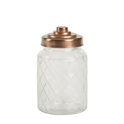T&G Woodware - Boîte Hermétique / Bocal / Bonbonnière En Verre Damier Couvercle Cuivre D11Xh18Cm 95Cl