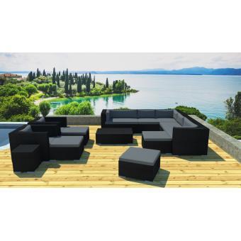 Lynco - Grand salon jardin modulable en résine Noir/gris ...