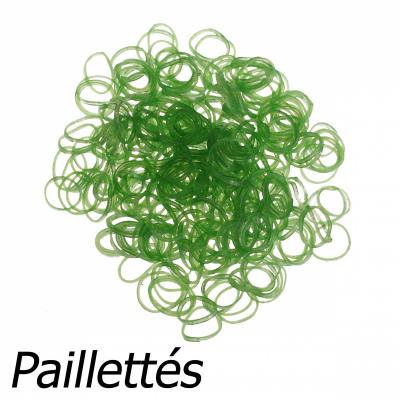 300 élastiques Loom - Vert pailleté