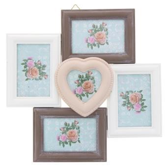 cadre photo p le m le mural capacit 5 photos taupe blanc rose cadres multivues top. Black Bedroom Furniture Sets. Home Design Ideas