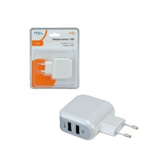 651b17a6b045 MCL Samar - Adaptateur secteur - 3.4 A - 2 connecteurs de sortie (USB) -  blanc