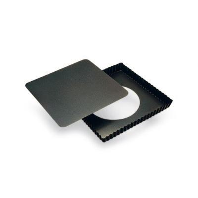 Moule acier, tarte carré, anti adhésif, noir, 23 cm