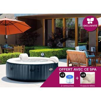 spa gonflable intex purespa rond bulles 6 places bleu nuit. Black Bedroom Furniture Sets. Home Design Ideas