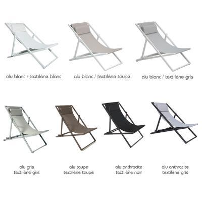 Transat en aluminium blanc et textilène taupe Santiago ...