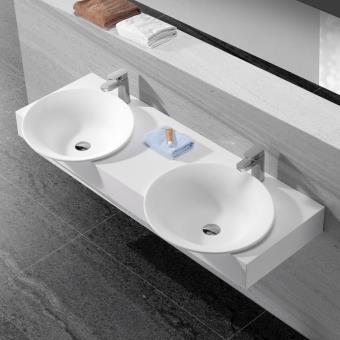 lavabo suspendu double vasque 140x47 cm composite blanc mat effect installations salles de. Black Bedroom Furniture Sets. Home Design Ideas