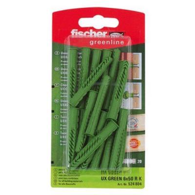Fischer 524804 Greenline Lot de 20 Chevilles universelle UX 6 x 50 mm R K