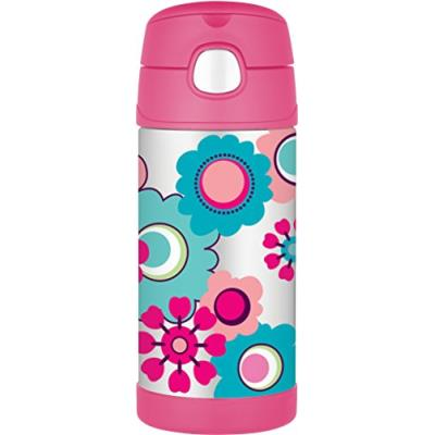 Thermos bouteille motif floral rose 355 ml