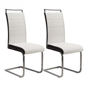 dylan lot de 2 chaises de salle a manger coloris blanc et noir achat prix fnac